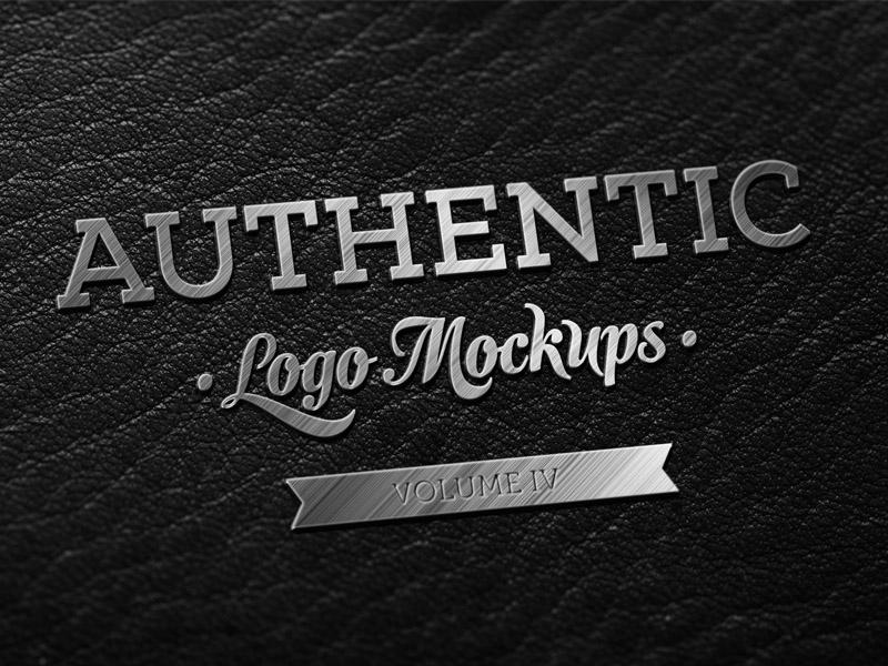 Metallic Finish on Dark Leather Logo Mockup