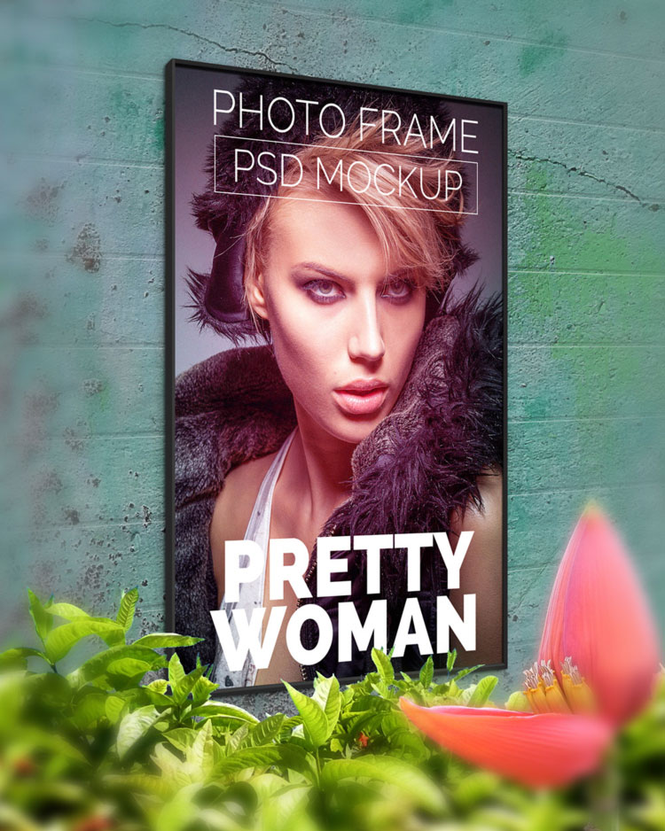 Wall Photo Poster Mockup PSD