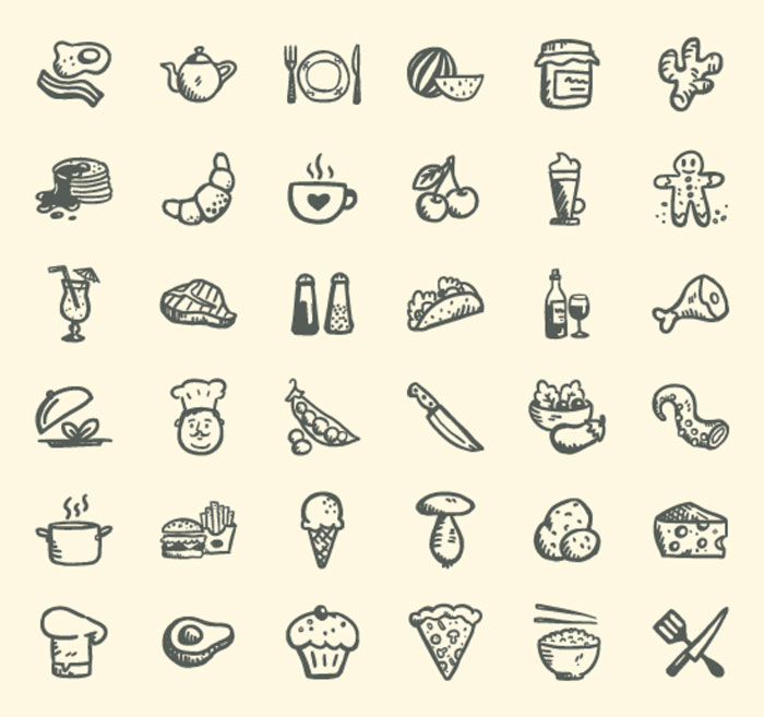 handdrawn food icons