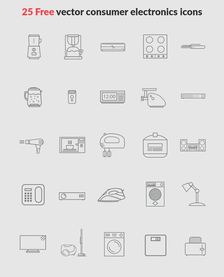 25 free vector consumer electronics icons