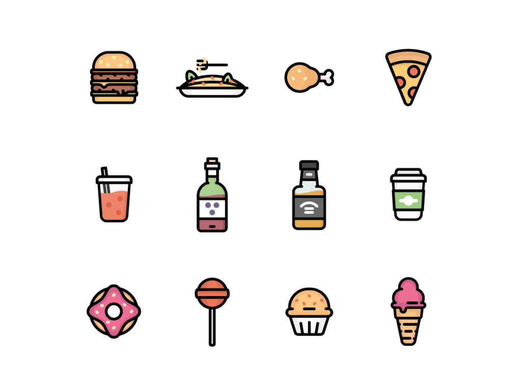 Colorful Wall Stickers 12 Free Food Icons Pixlov