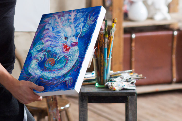 Art Canvas Realistic Studio MockUp