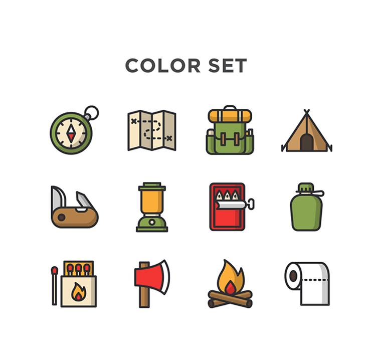Free Minimal Camping Vector Icons