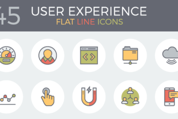 45 Free Flat Line User Experience Icons