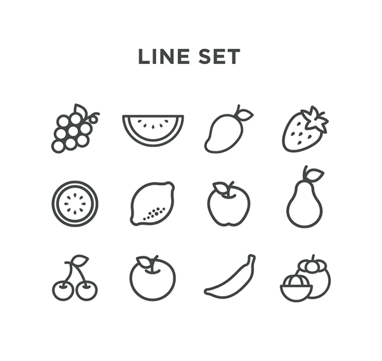 Free Flat Fruits Vector line icons