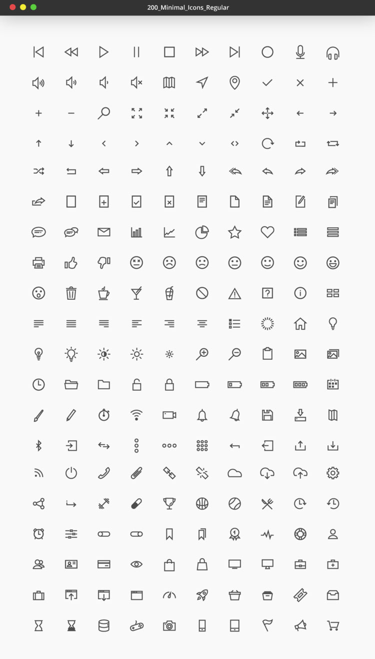 200 Free Minimal Vector UI Icons   Pixlov