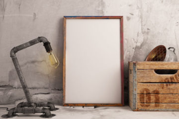 Free Psd Frame Mockup with Industrial Lamp