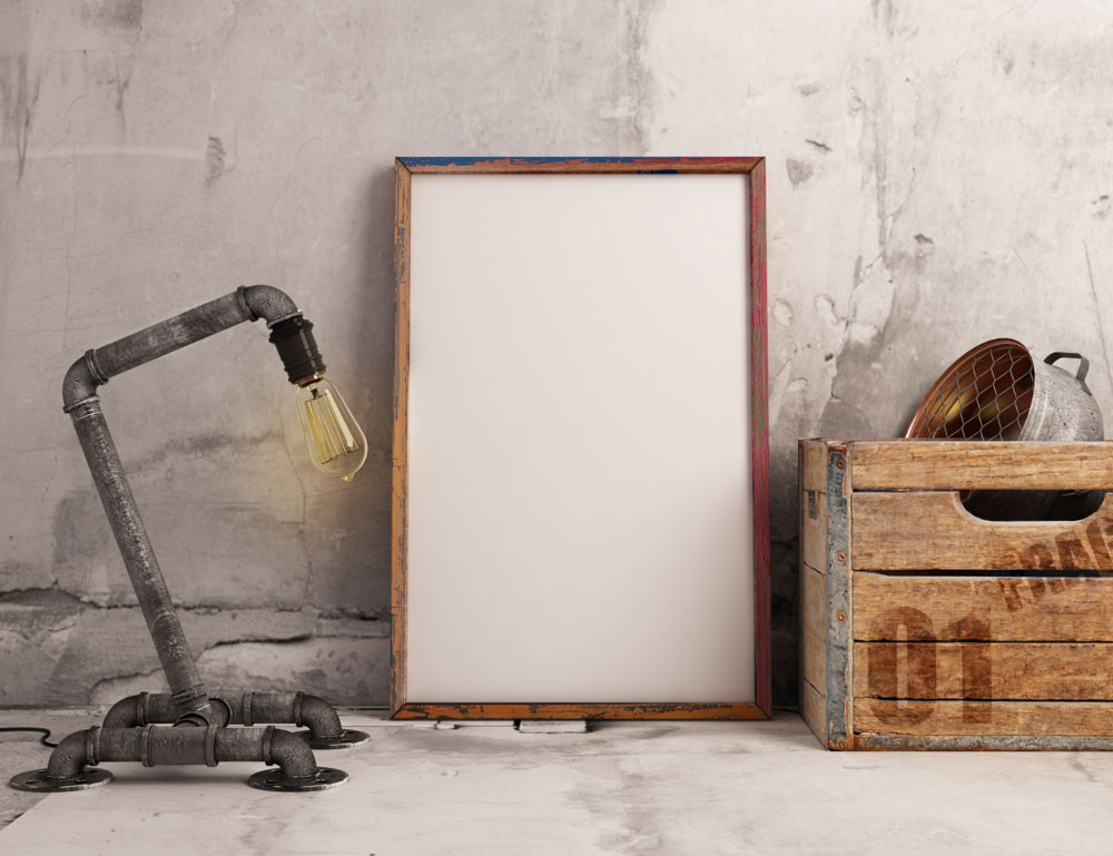 Free Psd Frame Mockup With Industrial Lamp Pixlov