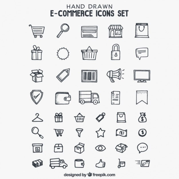 Hand drawn e-commerce icons Free Vector