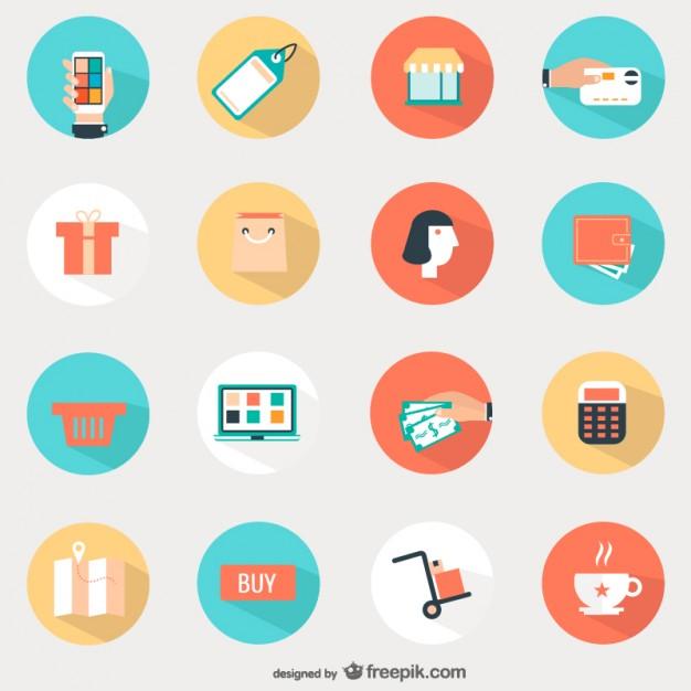 Shopping round icons set