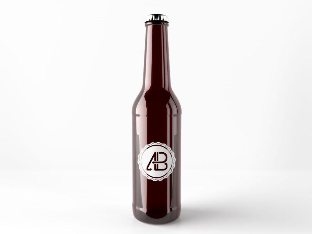 Realistic Beer Bottle Free Mockup