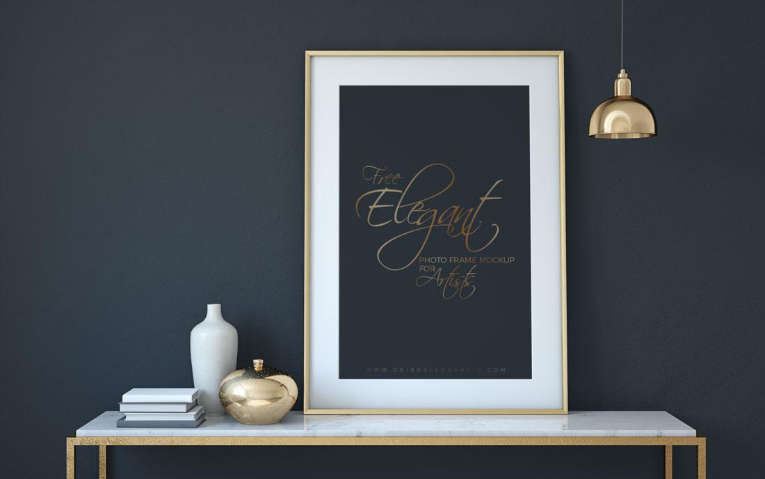 elegant photo frame psd mockup pixlov. Black Bedroom Furniture Sets. Home Design Ideas